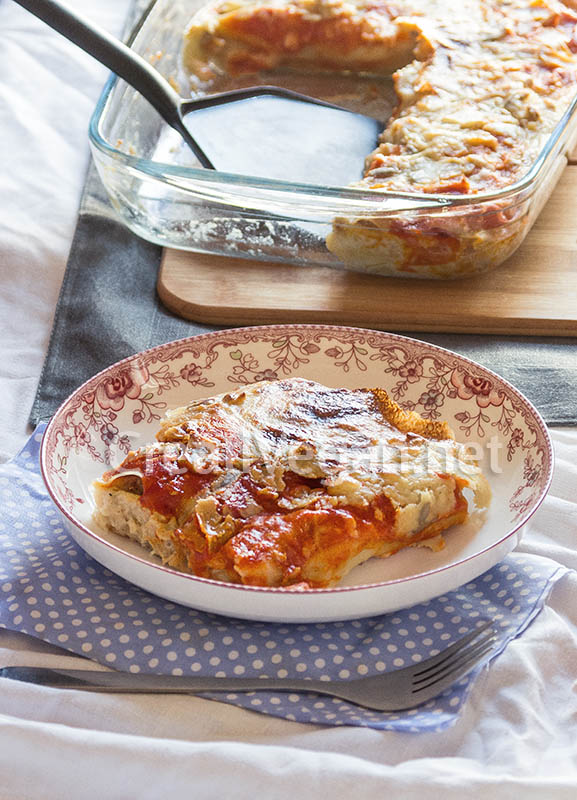Canelones de patata y seit n con bechamel de almendras y - Bechamel con nata para cocinar ...